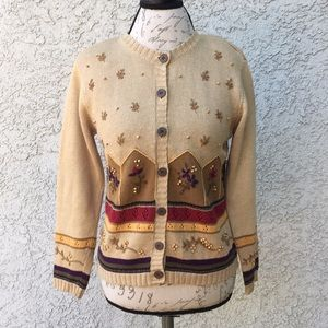 Vintage Talbot floral Embroidered Cardigan Sweater